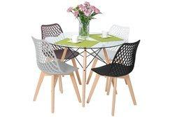 Komplet dla 4 osób do kuchni - stół okrągły LUNA i 4 krzesła NICEA