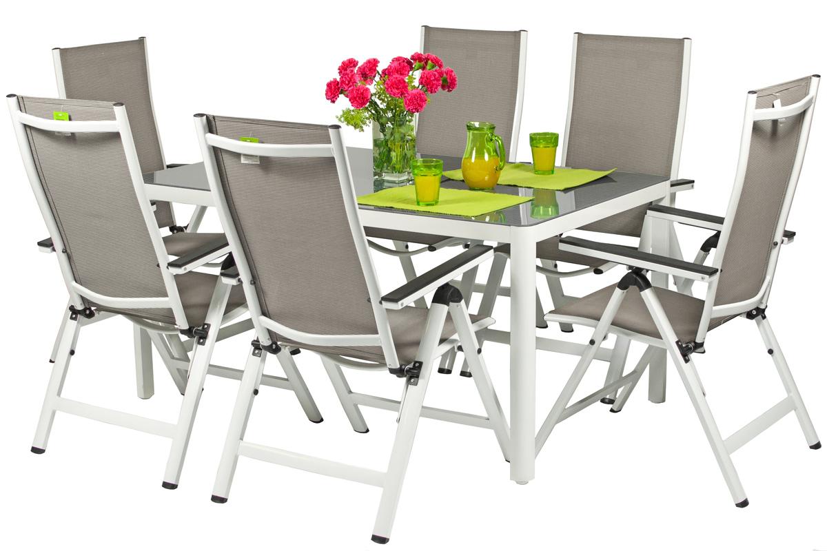 Meble Ogrodowe Aluminiowe Verona Vetro Stół I 6 Krzeseł Białe