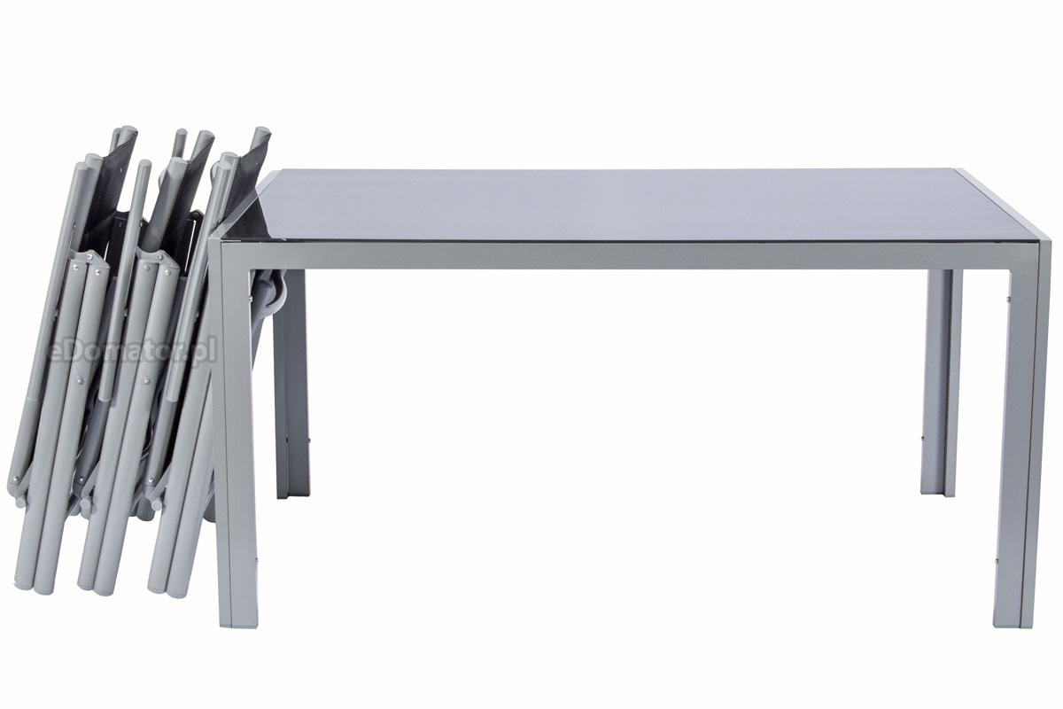 Meble Ogrodowe Składane Aluminiowe Wenecja Stół I 6 Krzeseł Srebrne