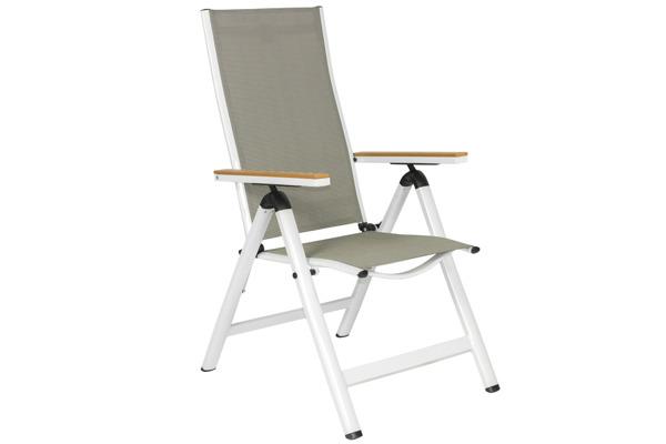 Krzesło ogrodowe składane aluminiowe VERONA LEGNO - białe