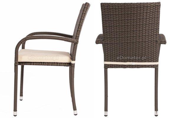 Krzesło ogrodowe z technorattanu MALAGA - brązowe