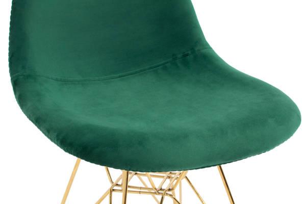 Krzesło tapicerowane welurowe VIOLET Gold - ciemnozielone