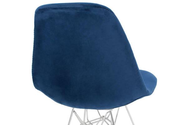 Krzesło tapicerowane welurowe VIOLET Silver -granatowe