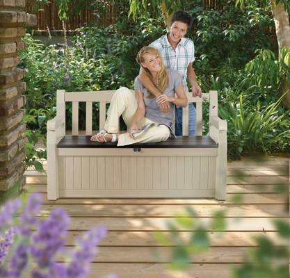 Ławka ogrodowa ze skrzynią EDEN BENCH 265 l - beżowa