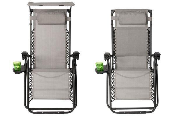 Leżak ogrodowy Zero Gravity ARUBA z daszkiem - szary
