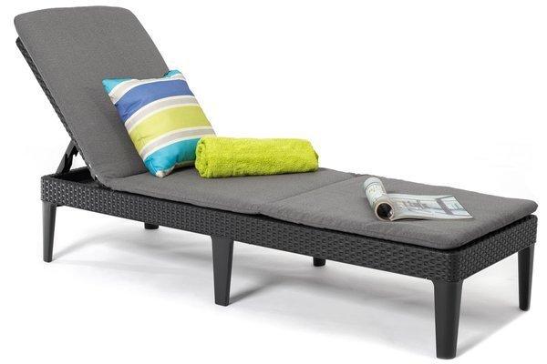 Leżanka basenowa leżak JAIPUR z poduszką - grafit