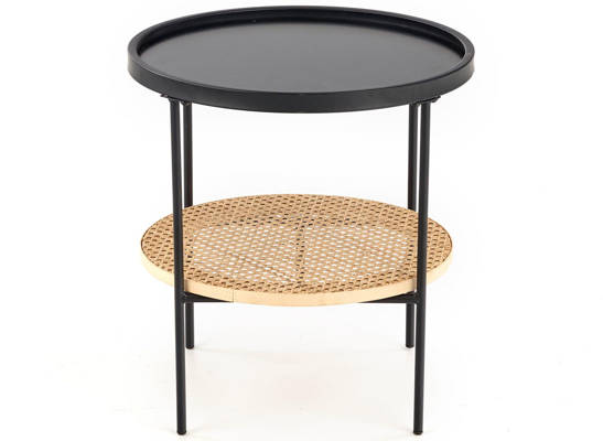 Mały metalowy stolik KAMPA z rattanem naturalnym - czarny