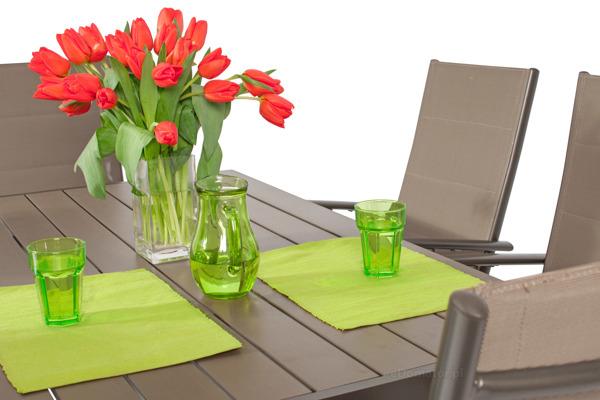 Meble ogrodowe składane aluminiowe MODENA Stół i 6 krzeseł - Brązowy