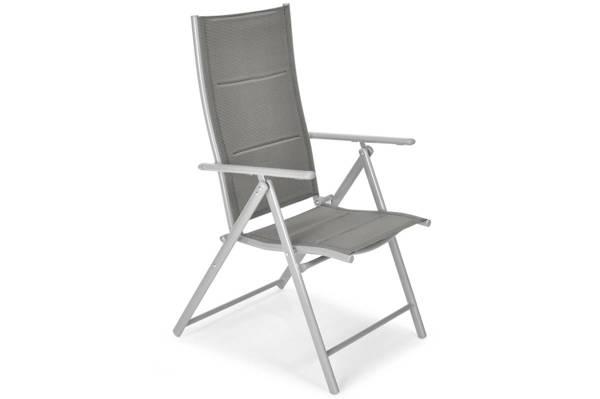 Meble ogrodowe składane aluminiowe MODENA Stół i 6 krzeseł - Srebrny