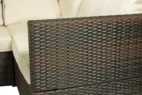 Narożnik ogrodowy z technorattanu ROMA - brązowy