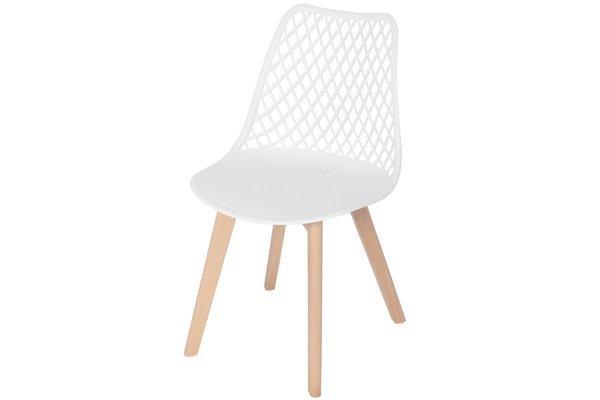 Nowoczesne ażurowe krzesło do jadalni NICEA - białe