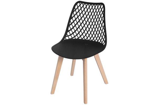 Nowoczesne ażurowe krzesło do jadalni NICEA - czarne