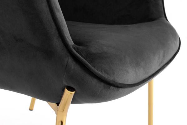 Nowoczesny fotel LOFT CASTEL 2 ze złotymi nóżkami - czarny