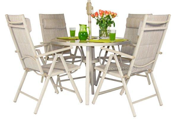 OUTLET - Krzesło ogrodowe aluminiowe PORTO - szampański beż