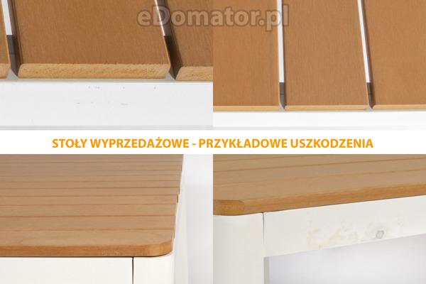 OUTLET - Stół ogrodowy aluminiowy VERONA LEGNO - biały