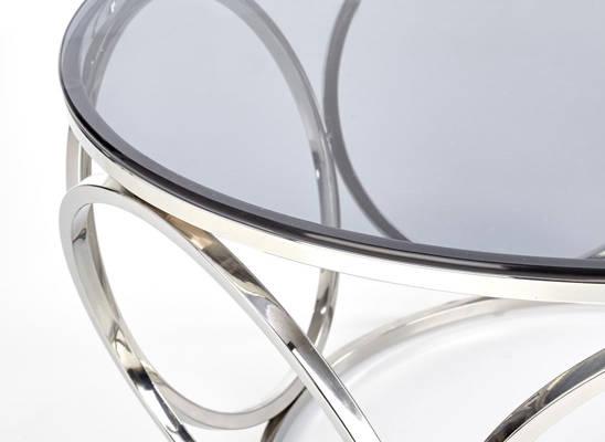 Okrągły stolik kawowy VENUS w stylu glamour - srebrny