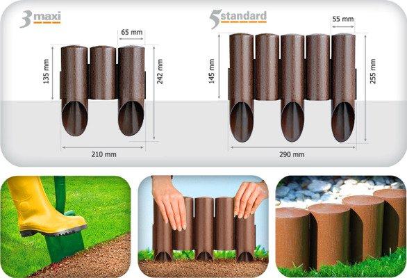 Palisada ogrodowa STANDARD 2,3 m - ceglasta