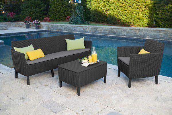 Sofa ogrodowa SALEMO 3-osobowa - grafitowa