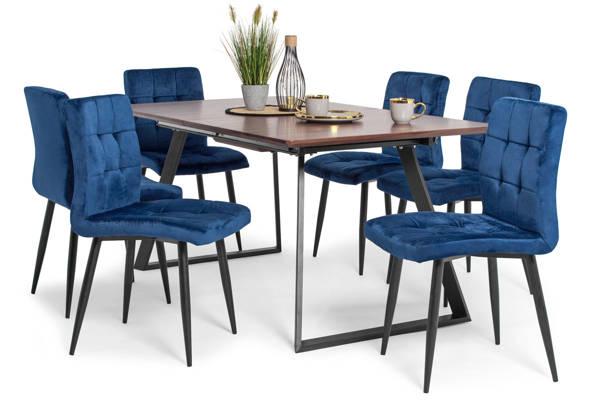 Stół PORTLAND (200/160x90) i 6 krzeseł DIANA - zestaw do jadalni - brąz + niebieski