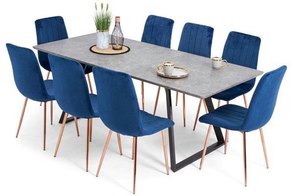 Stół PORTLAND (200/160x90) i 8 krzeseł SOFIA - zestaw do salonu - szary + niebieski