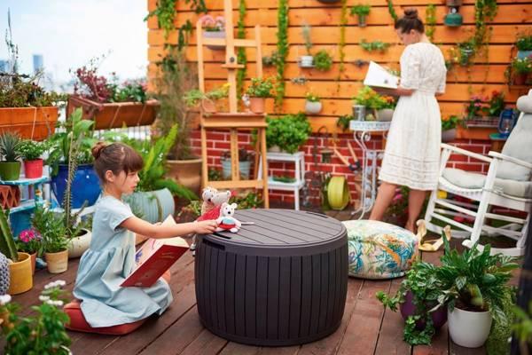 Stolik skrzynia ogrodowa okrągła CIRCA WOOD 140 L - brązowa