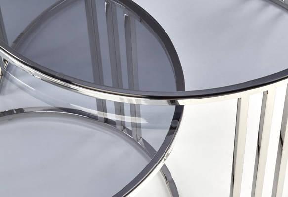 Zestaw 2 stolików do salonu MERCURY - srebrny