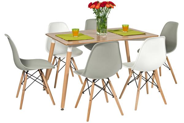 Zestaw mebli do jadalni MEDIOLAN stół i 6 krzeseł - brązowy