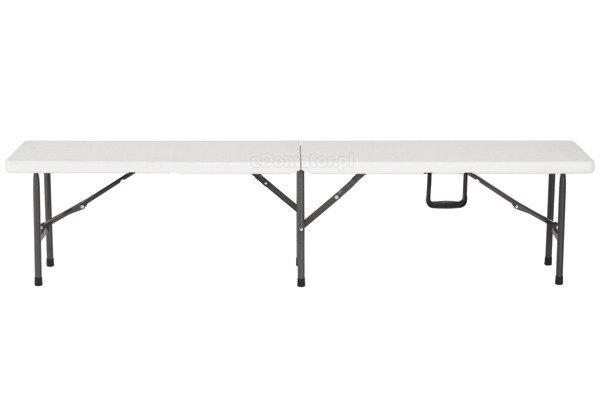 Zestaw mebli składany biały catering stół 244 cm i 2 ławki