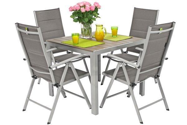 Zestaw ogrodowy aluminiowy MODENA Stół 90 cm i 4 krzesła - Srebrny