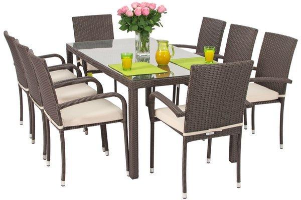 Zestaw z technorattanu MALAGA stół 180 cm i 8 krzeseł - brązowy