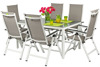 Meble ogrodowe aluminiowe VERONA VETRO Stół i 6 krzeseł - białe